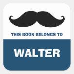 Mustache Bookplates, Book Labels Square Sticker