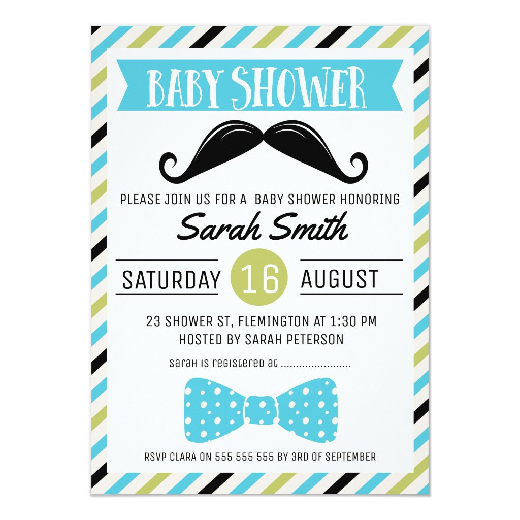 Mustache Bow Little Man Baby Shower Invitation