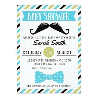Mustache Bow Little Man Baby Shower Invitation