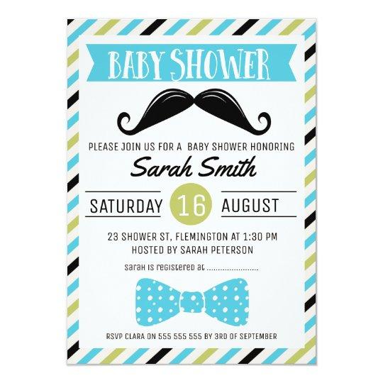 Mustache Bow Little Man Baby Shower Invitation Zazzle Com
