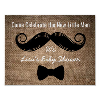 Mustache & Bow Party Sign with Burlap Background