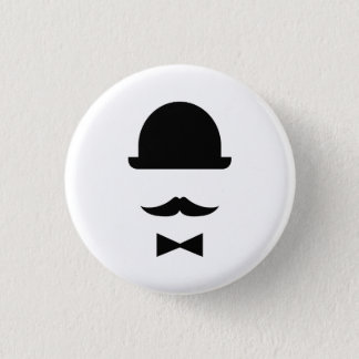 Mustache & Bowler Hat Pictogram Button