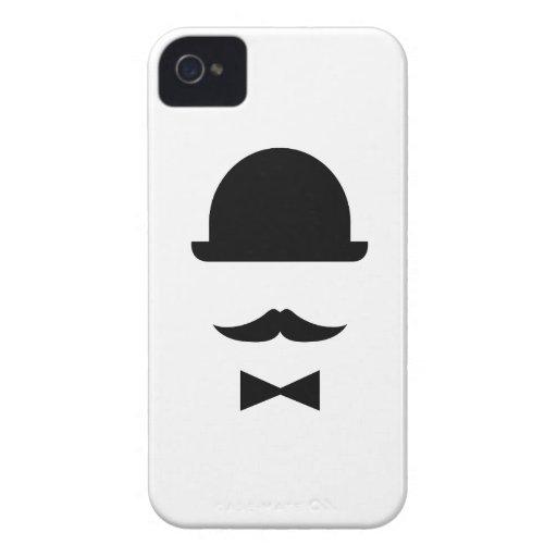 Mustache & Bowler Hat Pictogram iPhone 4 Case