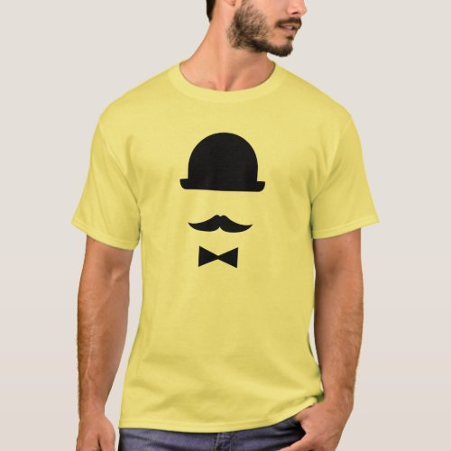 Mustache  Bowler Hat Pictogram T_Shirt