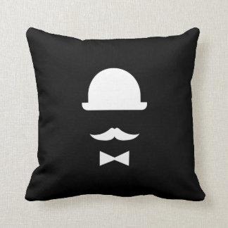 Mustache & Bowler Hat Pictogram Throw Pillow