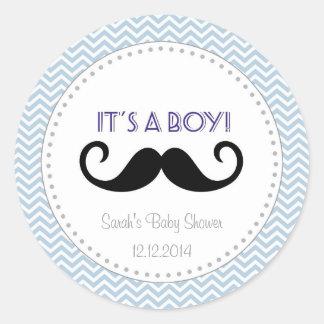 Mustache Boy Baby Shower Sticker Blue Chevron Round Stickers