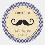 Mustache Boy Baby Shower Sticker Blue Chevron
