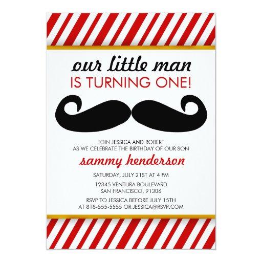 Mustache Boy Birthday Invitation