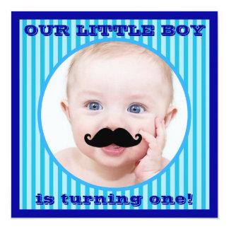 Mustache Boy Blue Stripe Birthday Invitation