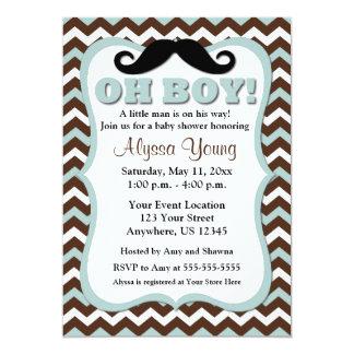 """Mustache Brown Blue Chevron Baby Shower Invite 5"""" X 7"""" Invitation Card"""