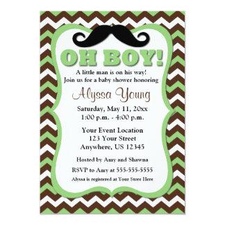 Mustache Brown Green Chevron Baby Shower Invite