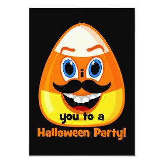 Mustache candycorn Halloween Invitations