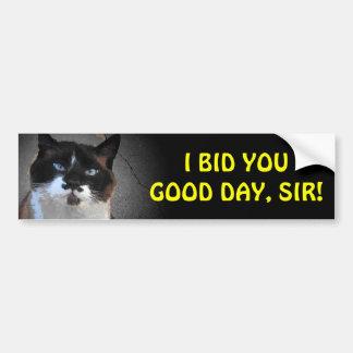 Mustache Cat Bids You Good Day, Sir Car Bumper Sticker