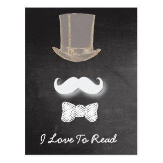 Mustache Chalk Design Postcard