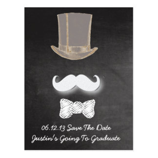 Mustache Chalk Design Save The Date Post Card