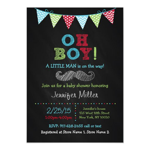 Mustache Chalkboard Oh Boy Baby Shower Invitations