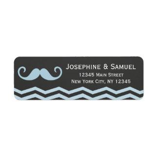 Mustache Chalkboard Wedding Address Label