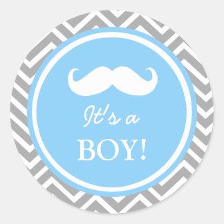 Mustache chevron baby boy shower classic round sticker