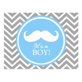 Mustache chevron baby boy shower postcard