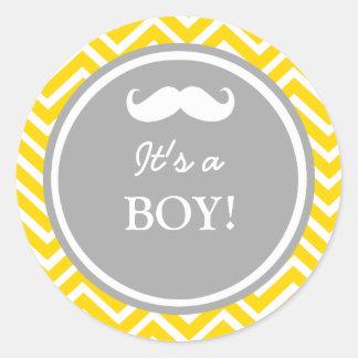 Mustache chevron baby boy shower round sticker