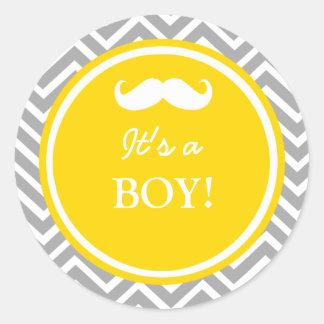 Mustache chevron baby boy shower stickers