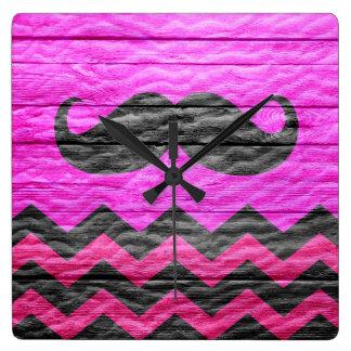 Mustache Chevron Hot Pink Wood Square Wall Clock