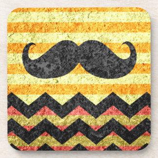 Mustache Chevron Modern Grunge Wall Coaster