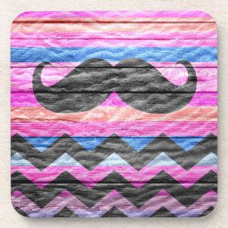 Mustache Chevron Modern Wood #2 Beverage Coaster