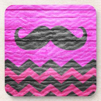 Mustache Chevron Modern Wood Coaster