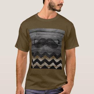 Mustache Chevron Vintage Wooden #4 T-Shirt