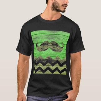 Mustache Chevron Vintage Wooden T-Shirt