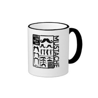 Mustache choose only one a day ringer coffee mug