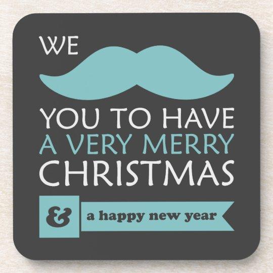 Mustache Christmas Beverage Coaster