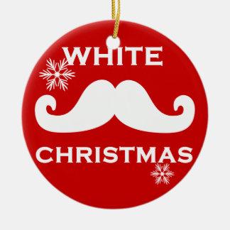 Mustache Christmas Ceramic Ornament