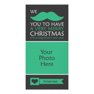 Mustache Christmas Personalized Photo Card