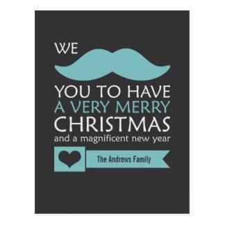 Mustache Christmas Postcard