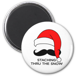 Mustache Christmas - Staching thru the snow 2 Inch Round Magnet