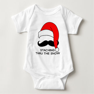 Mustache Christmas - Staching thru the snow Baby Bodysuit