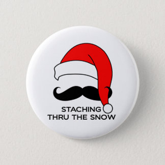Mustache Christmas - Staching thru the snow Button