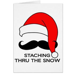 Mustache Christmas - Staching thru the snow Card