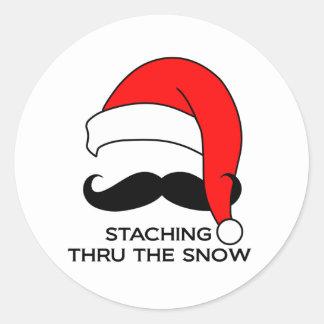 Mustache Christmas - Staching thru the snow Classic Round Sticker
