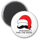 Mustache Christmas - Staching thru the snow Refrigerator Magnets
