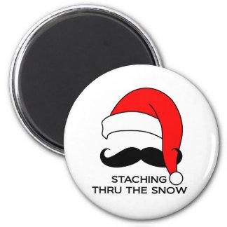 Mustache Christmas - Staching thru the snow Magnet