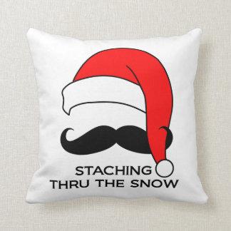 Mustache Christmas Staching Thru the Snow Pillow