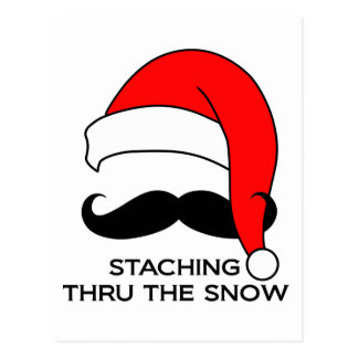 Mustache Christmas - Staching thru the snow Postcard