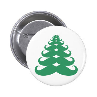 Mustache Christmas Tree 2 Inch Round Button