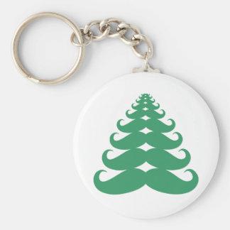 Mustache Christmas Tree Basic Round Button Keychain