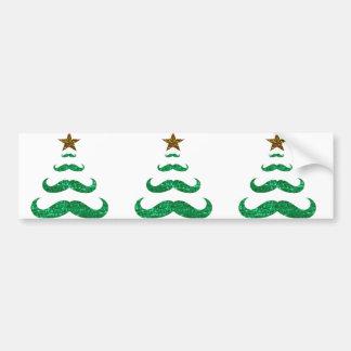 mustache christmas tree bumper sticker