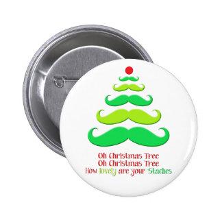 Mustache Christmas Tree Button