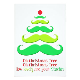 Mustache Christmas Tree - Holiday Card
